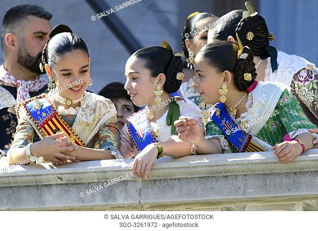 The Falleras Mayores de valencia Marina Civera Moreno and Sara Larrazabal Berna give the order to the pyrotechnician to start the castle fireworks of the...