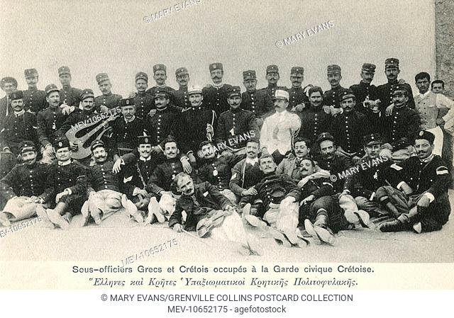 Greek and Cretan NCOs (Non-commissioned officers) engaged in the Cretan Civic Guard