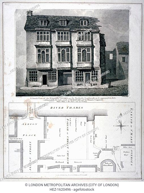 South view of the Falcon Tavern, Bankside, Southwark, London, as it appeared in 1805 (1811). The tavern was frequented by Shakespeare and his dramatic...