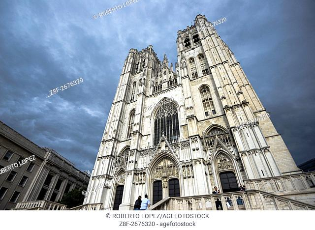 The amazing Cathedral of St. Michael and St. Gudula standing in the middle of Brussels in a cloudy day, Brussels, Belgium