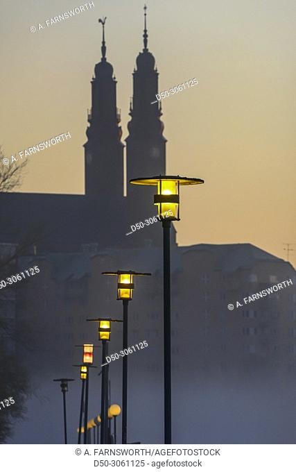 Stockholm, Sweden Dawn and fog in the neighborhood of Liljeholmskajen and Marievik