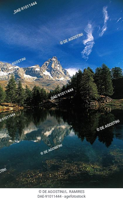 The Blue lake with the Matterhorn in the background, Valtournenche, Aosta Valley, Italy