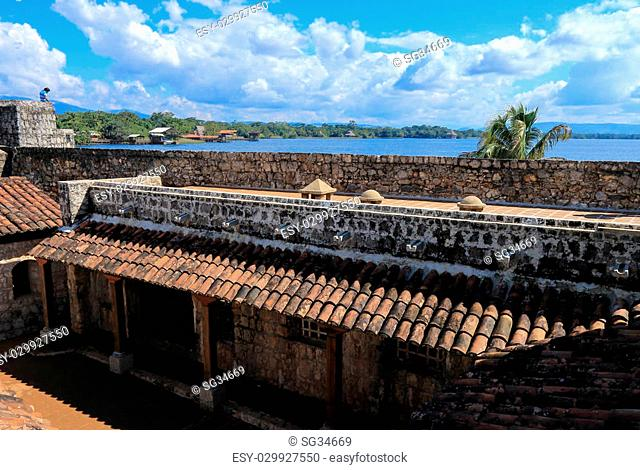 Interior of Castillo de San Felipe de Lara, a fort located at the entrance to Lago Izabal in Rio Dulce, Guatemala. It was built by the Spanish in 1644 to...