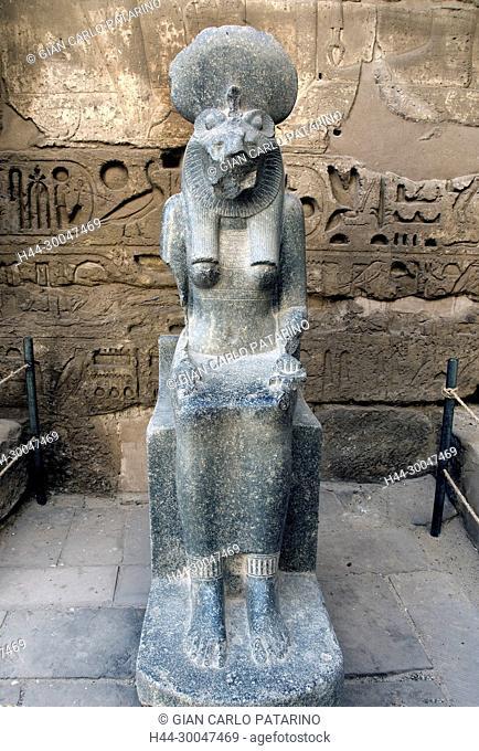Medinet Habu, Luxor, Egypt, Djamet, mortuary temple of King Ramses III,( XX dyn. 1185 -1078 B.C) - a broken statue of the goddess Sekhmet