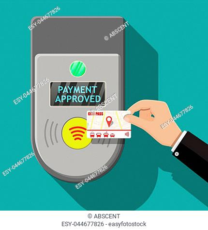 Hand holding transport card near terminal. Airport, metro, bus, subway ticket terminal validator. Wireless, contactless or cashless payments, rfid nfc