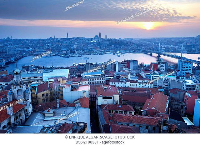 Istanbul, Beyoglu District, panorama from the Galata Tower upon the Golden Horn in the historical centre listed as World Heritage by UNESCO