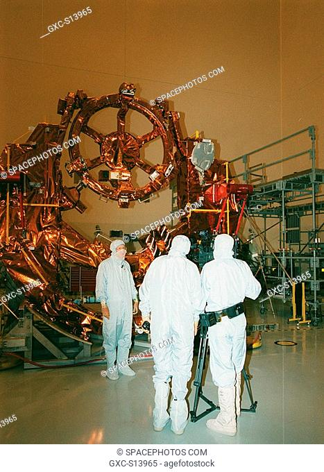 10/13/1999 -- In the Payload Hazardous Servicing Facility clean room, part of the flight hardware for the Hubble Space Telescope Servicing mission is on display...