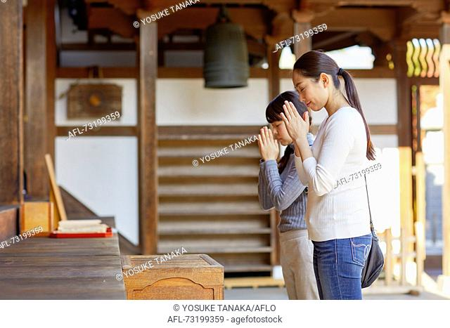 Japanese women in a temple