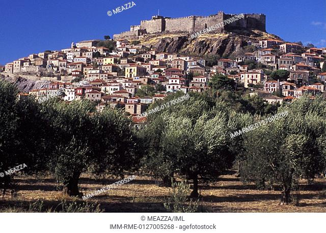 Molyvos, general view, medieval castle, olive trees , Greece: N E  Aegean, Lesvos