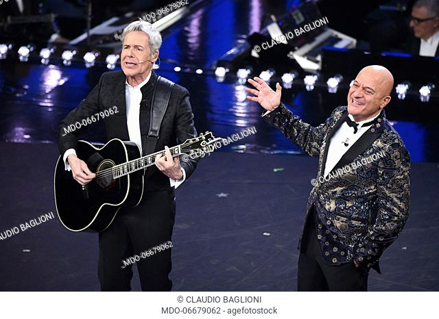 Claudio Baglioni e Claudio Bisio at the first evening of the 69th Sanremo Music Festival. Sanremo (Italy), February 5th, 2019