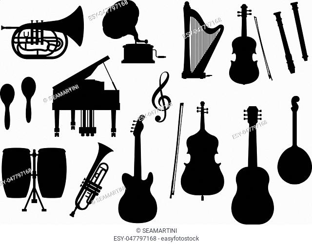 Silhouette of musical instruments. Vector isolated icons of orchestra harp, contrabass and piano, maracas, saxophone and gramophone, ethnic jembe drums