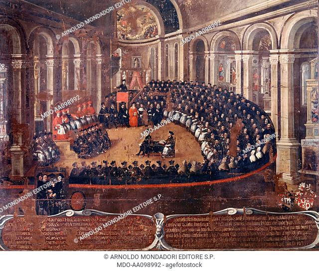 Council of Trent (Il Cardinale Ercole Gonzaga presiede la seduta del Concilio di Trento in Santa Maria Maggiore), by Elia Naurizio, 1633, 17th Century