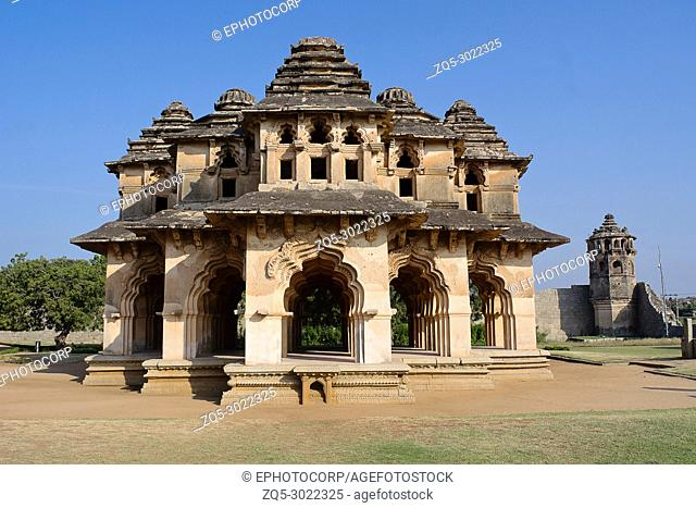 Lotus Mahal, General view of facade, Hampi Monuments, Karnataka , India