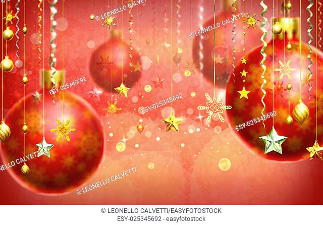 Christmass abstract background with several decorations hanging down in foreground and a few balls out of focus. Red dominant color