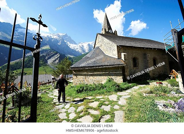 France, Hautes Alpes, Parc National des Ecrins Ecrins National Park, La Grave, labeled Les Plus Beaux Villages de France The Most Beautiful Villages of France