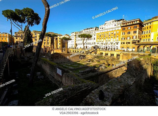 Archeological site of Largo Argentina in Rome, Lazio, Italy, Europe