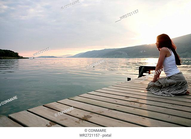 woman, relaxing, beauty, lakeside, sunset, portrai
