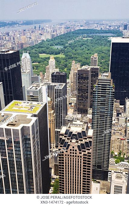 Cityscape of upper town Manhattan and Central Park from the Top of the Rock observation deck of Rockefeller Center, New York City. USA