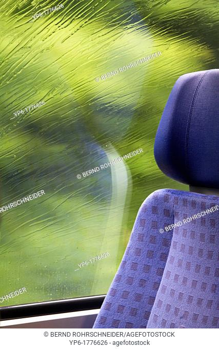 window of a train with raindrops, Rhineland-Palatinate, Germany