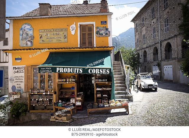 Facade of typical Corsican products shop. Corte, Corsica, France
