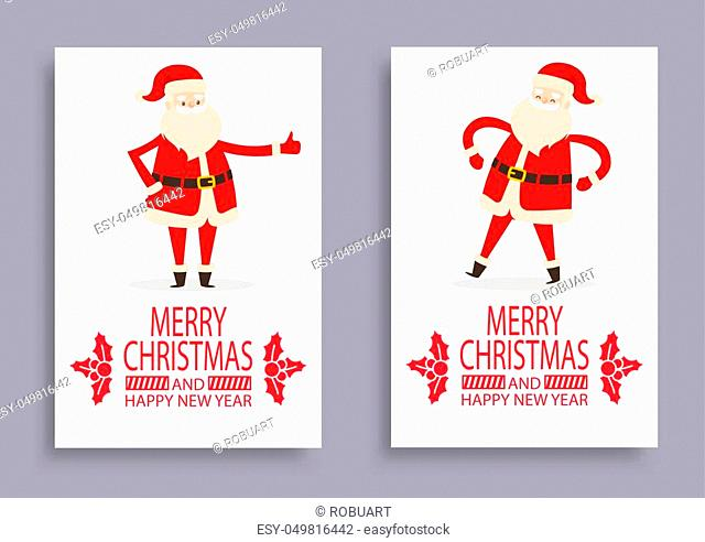 Calligraphic inscription with mistletoe branches and Santa Claus symbol of winter holidays vector postcard isolated. Merry Christmas and Happy New Year