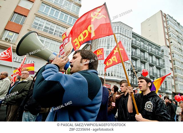 The traditional Mayday march is underway in Santander. Mayday marks international labour day every 1st of May in many cities around the globe