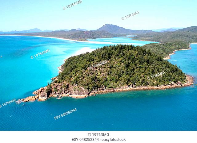 An Aerial view of Hill Inlet, Whitsunday Islands, Queensland, Australia