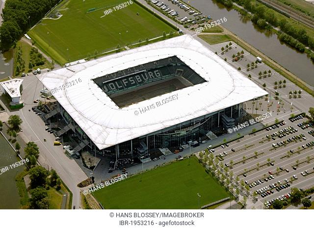 Aerial view, Volkswagen Arena football stadium, Wolfsburg, Lower Saxony, Germany, Europe