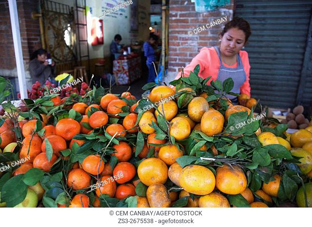 Vendor selling fresh fruits at the open-air market, Oaxaca, Oaxaca State, Mexico, North America