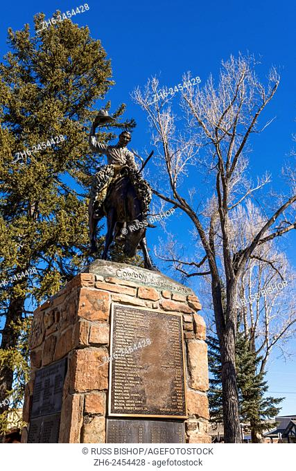 Cowboy statue and war memorial in the town square, Jackson Hole, Wyoming USA