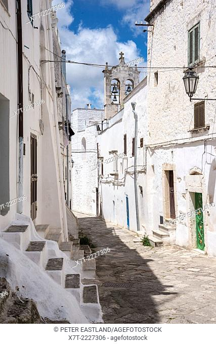 Medieval whitewashed streets of Ostuni, Puglia, Italy