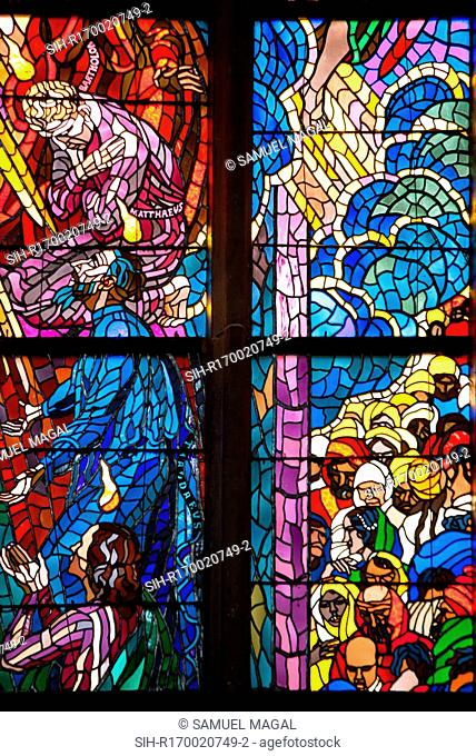 Part of the stained glass window, in the Chapel of St Ludmila, Southern Aisle of the St Vitus Cathedral, Prague, Czech Republic
