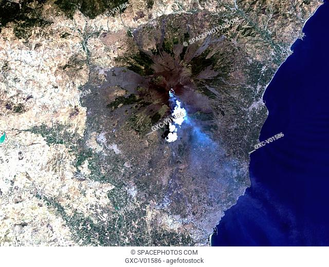 On July 29, 2001, emergency workers in Sicily, Italy, were working round the clock to reinforce dams to contain the lava flows threatening the tourist base