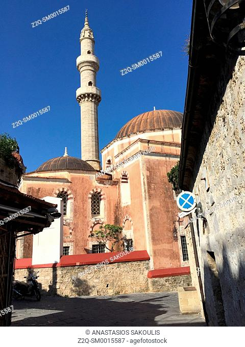 Pink-domed Mosque of Süleyman, at the top of Sokratous str. Rhodes, Greece World Heritage City, UNESCO