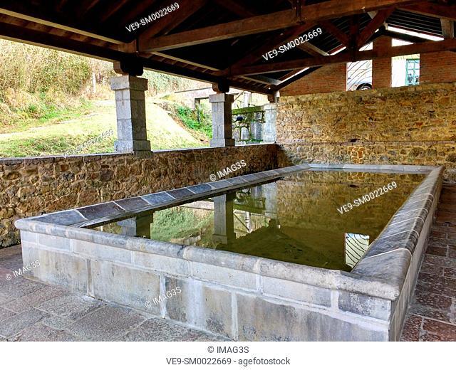 Old public stone laundry in Infiesto, Piloña municipality, Asturias, Spain