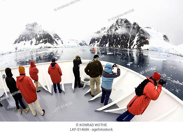 Cruiseship in Lemaire Channel, Graham Land, Antarctic Peninsula, Antarktica