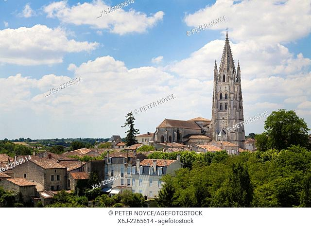 Basilica of Saint Eutropius over the rooftops os Saintes