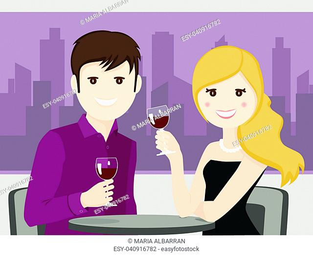 Couple of lovers toasting in a restaurant