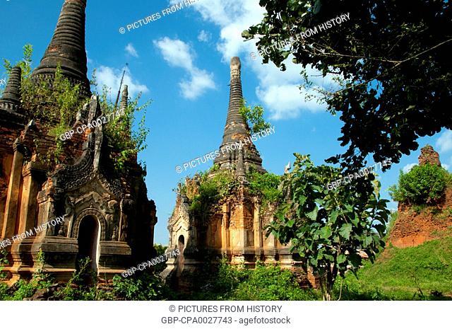 Burma / Myanmar: Some of the many Nyaung Ohak pagodas near Shwe Indein Pagoda, Indein, near Ywama, Inle Lake, Shan State