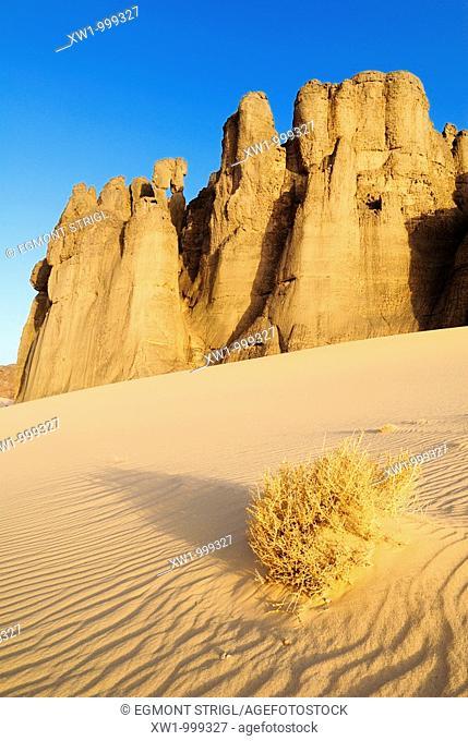 desert rock formation at Tin Akachaker, Tassili du Hoggar, Wilaya Tamanrasset, Algeria, Sahara, Africa