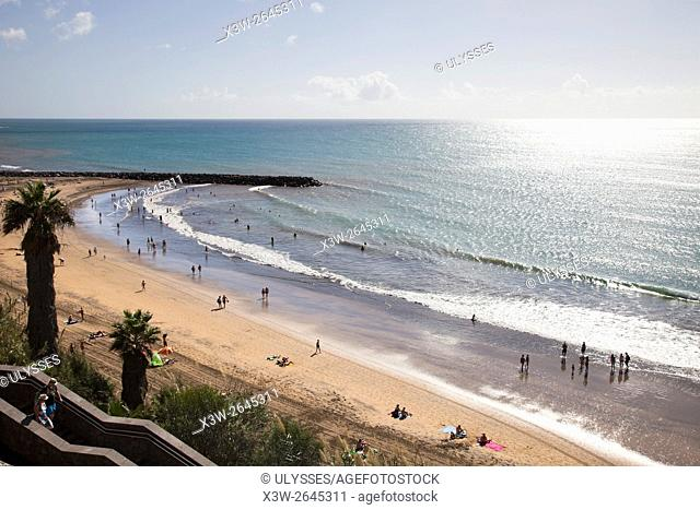 Maspalomas promenade and Playa del Ingles, Gran Canaria island, Canary archipelago, Spain, Europe