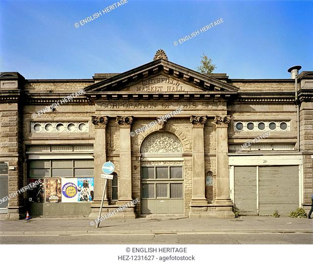 Smithfield Market, 39-57 Swan Street, Manchester, 2000. The market hall has seen better days. With its Classical portico, it dates from 1854
