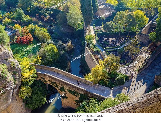 Ronda, Malaga Province, Andalusia, southern Spain. The Puente Arabe, also known as Puente de San Miguel. Moorish or Arab bridge, bridge of San Miguel