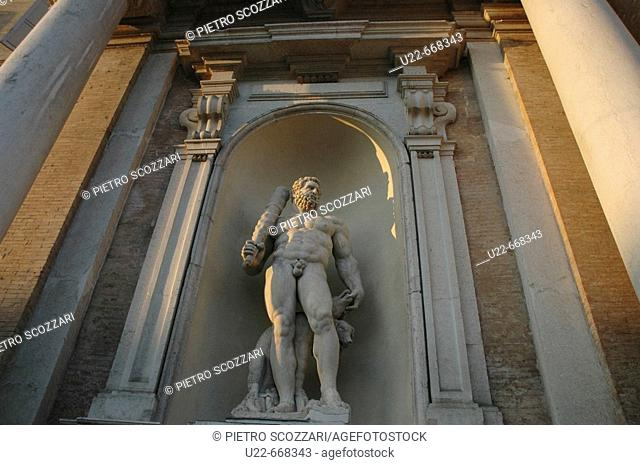 Modena (Italy), statue at the entrance of Palazzo Ducale
