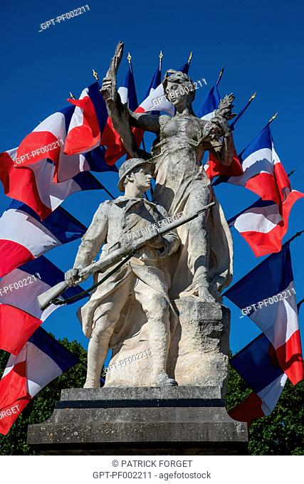 THE FRENCH MARIANNE THANKING SOLDIERS KILLED IN THE FIRST WORLD WAR, WAR DEAD MONUMENT UNDER A MULTITUDE OF TRICOLOUR FRENCH FLAGS, BONNEVAL, EURE-ET-LOI 28