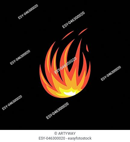 Isolated abstract red and orange color fire flame logo on white background. Campfire logotype. Spicy food symbol. Heat icon. Hot energy sign