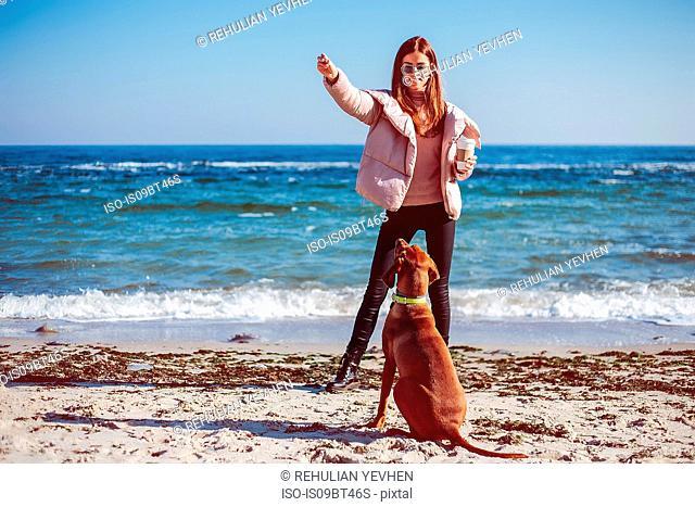 Mid adult woman on beach training her dog, Odessa, Odeska Oblast, Ukraine