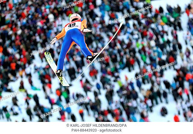 Stefan Kraft from Austria in action during the men's ski jumping event at the 2017 Nordic World Ski Championships in Lahti, Finland, 25 February 2017
