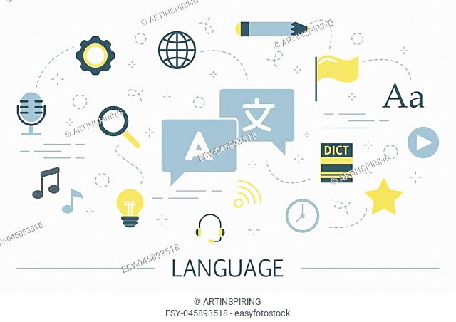 Language learning concept. Idea of global communication. Studying foreign vocabulary. Flat vector illustration