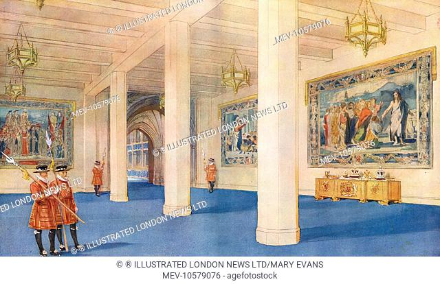 A view inside the Great Hall, a temporary annexe designed by Sir James West and built onto Westminster Abbey for the Coronation of King George VI in 1937